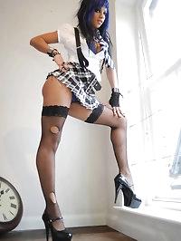 Busty schoolgirl Teta-Maria Stone in fishnet stockings