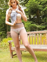 Long haired beauty secretary slowly slips out of her..