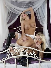 Lucy Zara catches her hot blonde girlfriend playing with..