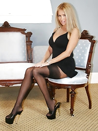 HotWifeRio poses in her sexy garterbelt pantyhose then..