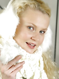 Gorgeous blonde Karen in winter coat with lingerie..