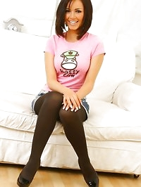 Gorgeous Gemma in a cute pink top, denim miniskirt and..