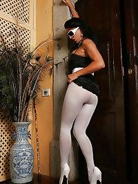 Long white pantyhose on a slut