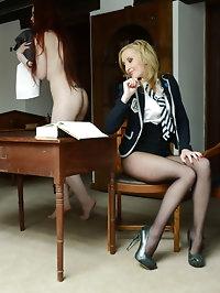 Hairy pantyhose lesbians Sophia Smith and Miss Franka
