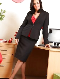 Abbie teases her way from office outfit with red and black..