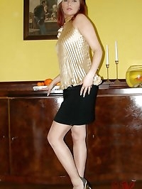 sophisticated in skirt and nylons