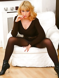 Stunning blonde Iryna in tight brown minidress and..