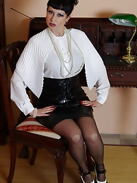 sexy vintage lingerie and stocking teacher