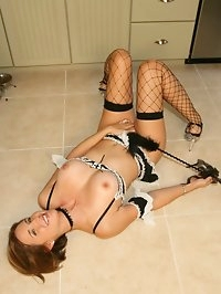 Long Legged Busty Wife in Naughty Maid Outfit