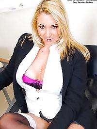 Big Boobed Blonde Secretary CaseyB Hard at Flirt in Lace..
