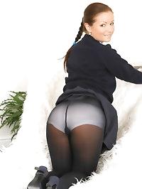 Beautiful brunette Jana B in cute college uniform snd sexy..