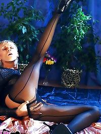 Horny leggy whore in black pantyhose
