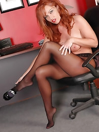 Busty broad has nylons fetish