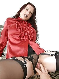 feeling up the busty lady in satin in stockings