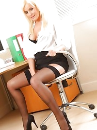 Amy Green takes a break from her office duties to do a..
