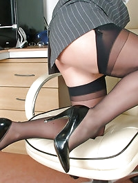The office looks so sexy with this nylon loving babe in it