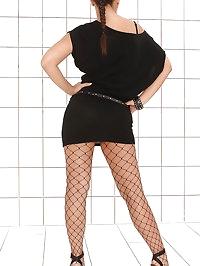 Hot brunette Eve Angel stripteasing