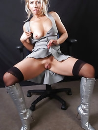 Sexy blonde Nicole has a gorgeous pair of silver leather..
