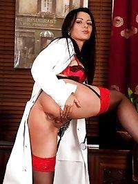 Horny older nurse Sienna Richardson spreads her legs.