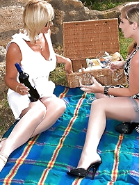 Lady Astrid and her maid picnic in the sunshine