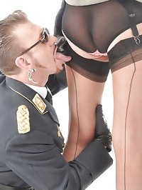 Nylon Jane gets her stockings worshipped by a fan