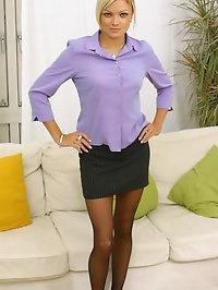 Jennifer the ultimate secretary in miniskirt and pantyhose