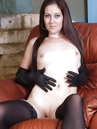 This sexy brunette loves to put her gloves on nice and..