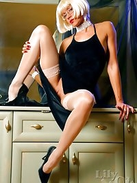 Charming hot lady LilyWOW in sheer stockings and high heels