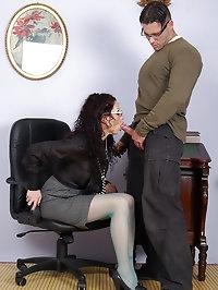jerking pantyhose secretary gets cum on glasses