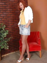 Brunette with jeans and sexy nylons