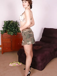 Naughty darling teases with her pantyhose
