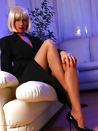 Leggy lady in classic stockings and high heels