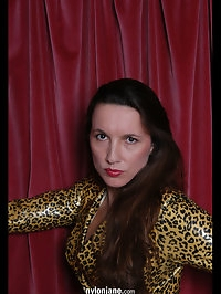 Nylon jane in sexy leopard print top and stockings