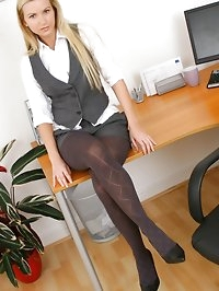 Beauty blonde comes to work in sexy shorts and gorgeous..