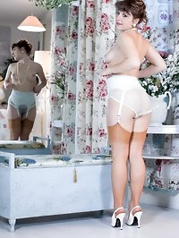 Rosie has her hairy beaver out in no time, vintage sheer..