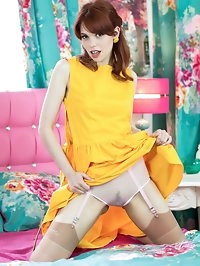 Poppy, vibrant in yellow dress, sheer sexy nylons and 5..