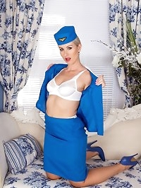 Evey is ready to take off in fully fashioned nylons high..