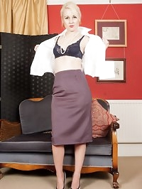 Kiana stripping to a pretty set of french, navy lingerie,..
