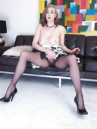 A very sexy Sapphire gets very horny in her seamless sheer..