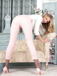Danielle looks quite respectable in capri pants and..