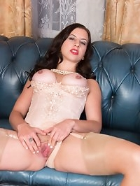 A sexy Tindra is presented in classy designer lingerie..