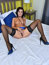 Sweet sensual European Vicky Love is locked and loaded for..