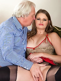 Old fucker likes her young pussy and he tears her stockings