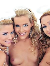 Three teen girls love it when they get a dildo up their ass