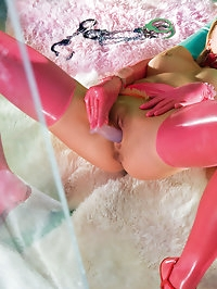 Blonde little girl in latex gets a hard fuck by a big cock