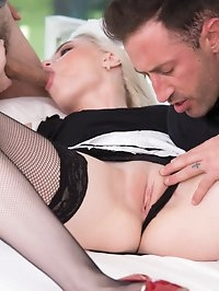Gorgeous blonde Milena Devi, the maid rides in a threesome