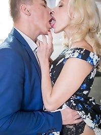 Brittany Bardot, tattooed blonde MILF fucked in the kitchen