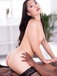 Beautiful Asian babe Katana enjoys her first interracial