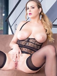 Candy Alexa, curvy and busty babe enjoys anal in lingerie