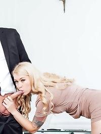 Secretaries Misha Cross & Carmel Andersson in anal threeway